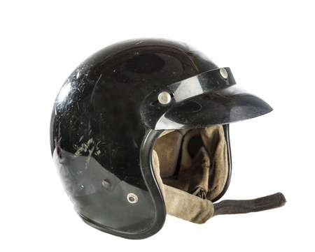 casco de moto: casco de motocicleta de la vendimia aislado en blanco Foto de archivo
