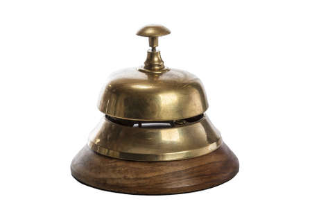 bellman: Old brass hotel bell isolated on white Stock Photo