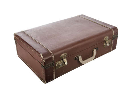 Vintage suit case Isolated on white photo