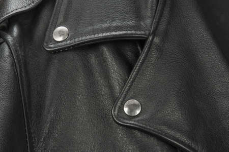 Vintage Leather biker jacket isolated on white photo