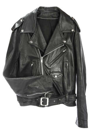 Vintage Leather biker jacket isolated on white Stock Photo