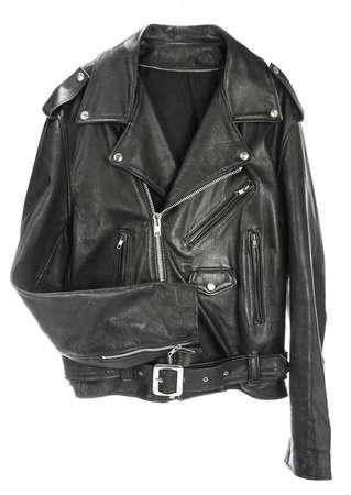 kurtka: Vintage Leather biker jacket na białym Zdjęcie Seryjne