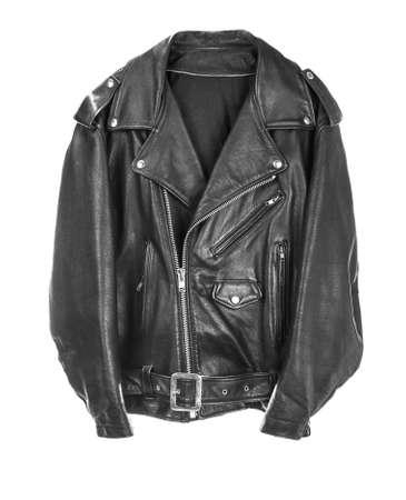 business dress: Vintage Leather biker jacket isolated on white Stock Photo