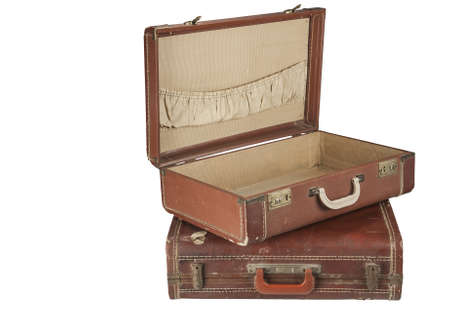 suit case: Open Vintage suit case Isolated on white Stock Photo