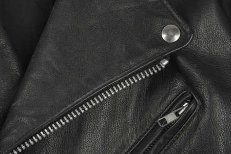 seam: close-up of black leather jacket details
