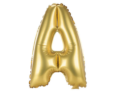 Gold balloon font part of full set upper case letters, A