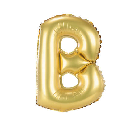 Gold balloon font part of full set upper case letters, B photo