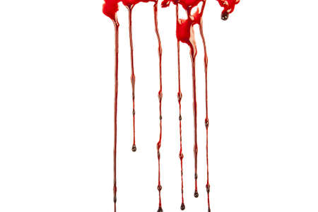 splatter: Dripping blood isolated on white