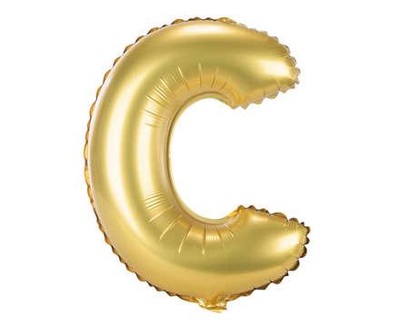 Gold balloon font part of full set upper case letters, C