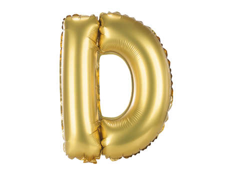 upper case: Gold balloon font part of full set upper case letters, D