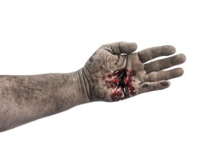 jesus hands: Bloody dirty hand isolated on white