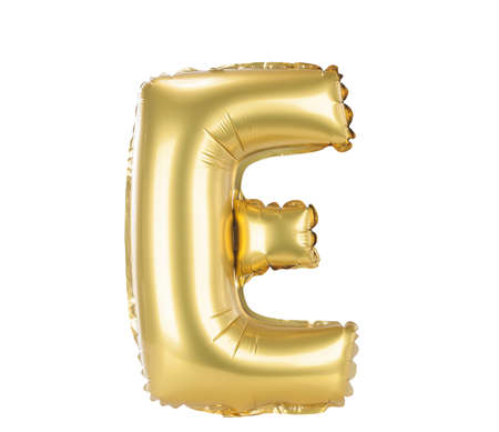 Gold balloon font part of full set upper case letters, E