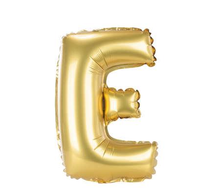 Gouden lettertype ballon onderdeel van de volledige set hoofdletters, E