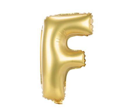upper case: Gold balloon font part of full set upper case letters, F