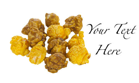 A pile of caramel and cheese corn on a white background Imagens