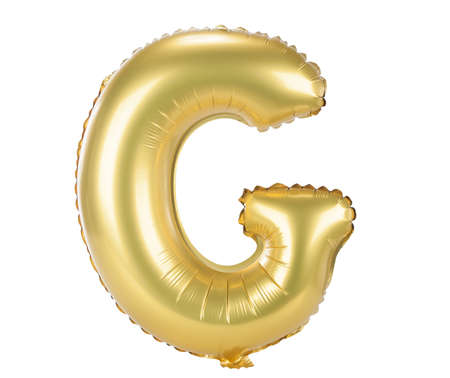 upper case: Gold balloon font part of full set upper case letters, G Stock Photo