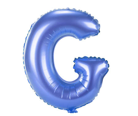 party balloons: Blue balloon font part of full set upper case letters,G