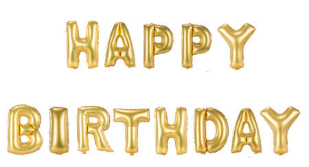 gold foil Happy Birthday balloons isolated on white background