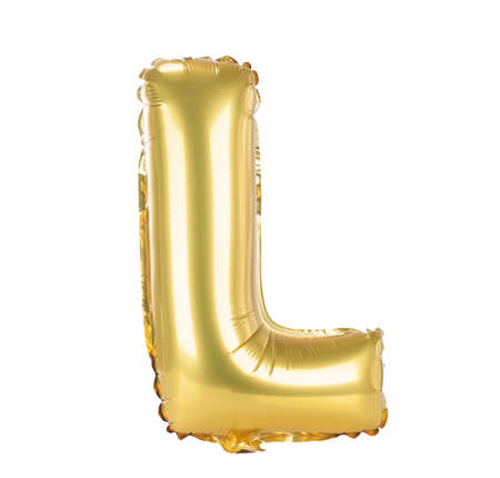 Gold balloon font part of full set upper case letters, L Фото со стока