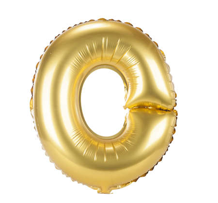 Gold balloon font part of full set upper case letters, O