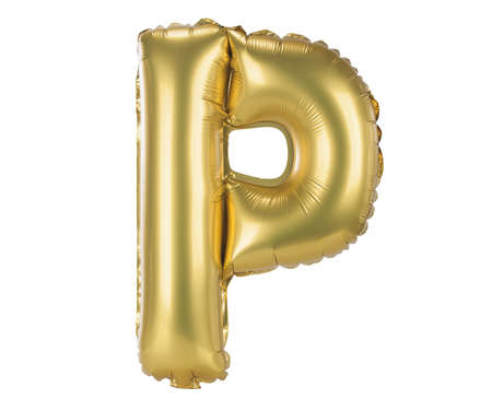 Gold balloon font part of full set upper case letters, P photo