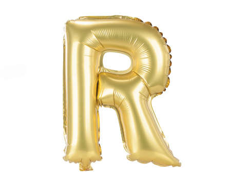 Gold balloon font part of full set upper case letters, R