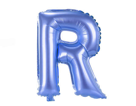 inflatable: Blue balloon font part of full set upper case letters, R
