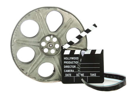 clapper board: Movie Clapper Board with film reel on white background