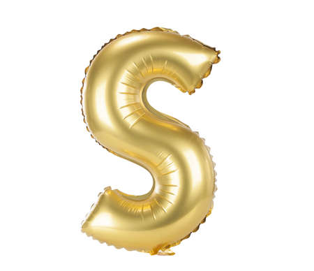 Gold balloon font part of full set upper case letters, S