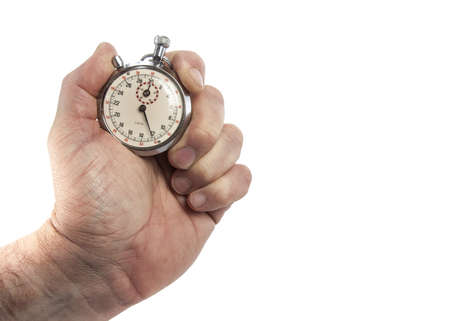 timescale: Hand Holding vintage Stopwatch On White Background
