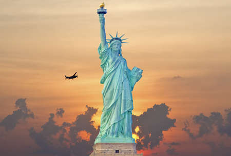Statue of liberty at sunrise photo