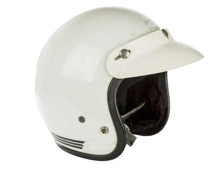 motorcycle helmet: Vintage White Motorcycle helmet isolated on white
