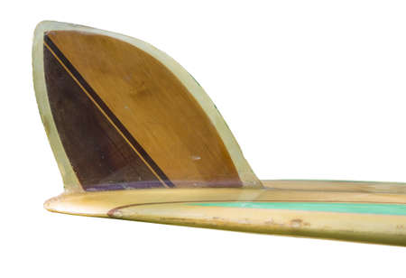 single fin: Vintage 60 s Surfboard fin isolated on white