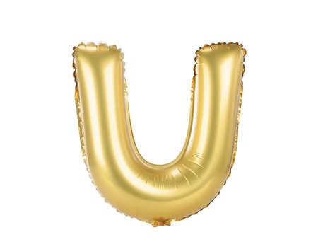 Gold-Ballon font Teil des vollständigen Satz Großbuchstaben U