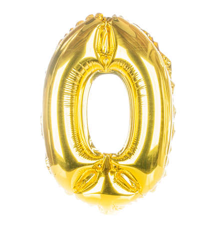 Gold balloon font part of full set of numbers, number zero,0