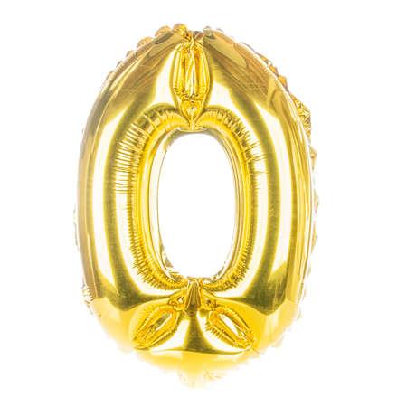 Goud ballondoopvont onderdeel van de volledige set van getallen, getal nul, 0