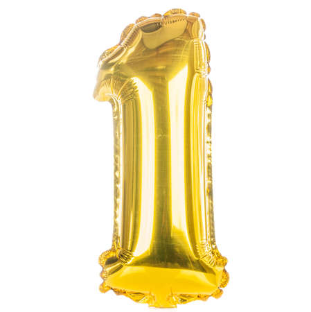 Gold balloon font part of full set of numbers, number one,1