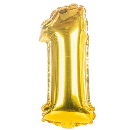 Goud ballondoopvont onderdeel van de volledige set van nummers, nummer een, 1 Stockfoto