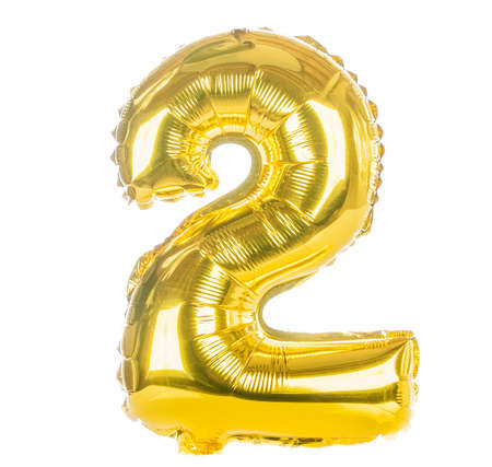 two: Gold balloon font part of full set of numbers, number  two,2
