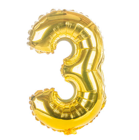 party balloons: Gold balloon font part of full set of numbers, number three,3 Stock Photo