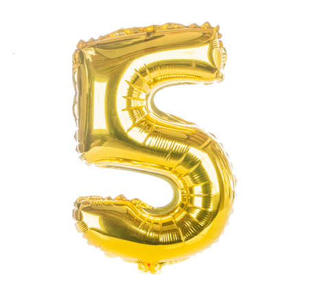 Gold balloon font part of full set of numbers, number five,5