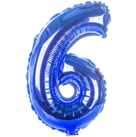 Blue balloon font part of full set of numbers, number six,6