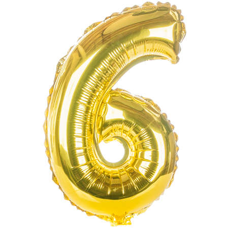 Gold balloon font part of full set of numbers, number six,6 Stock Photo
