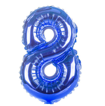 number eight: Blue balloon font part of full set of numbers, number eight, 8 Stock Photo