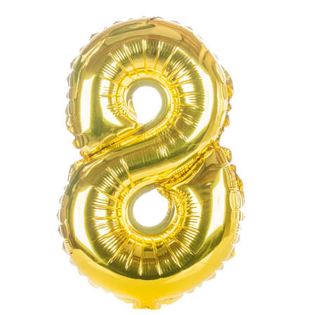 Gold balloon font part of full set of numbers, number eight, 8
