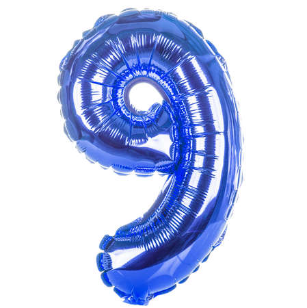 Blue balloon font part of full set of numbers, number nine, 9 photo