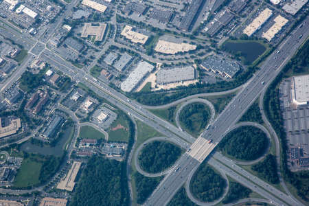 Aerial view of highway interchange photo