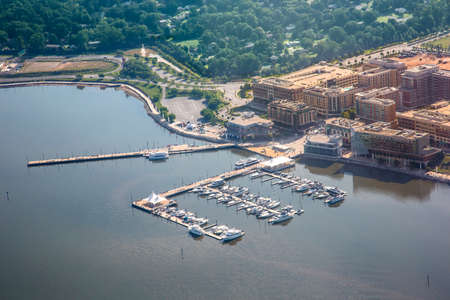 Aerial view of country club with boats in Washington DC Stok Fotoğraf