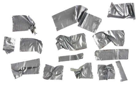 ducts: Different stripes of duct tape  All isolated on a white background  Stock Photo