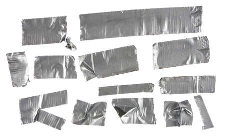 duct tape: Different stripes of duct tape  All isolated on a white background  Stock Photo
